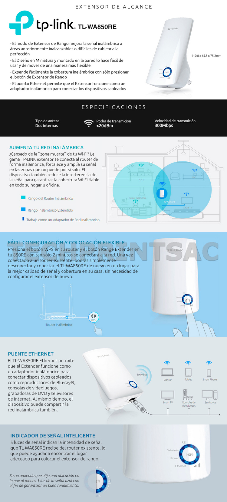 Amplificador repetidor cobertura wifi 300mbps autoconfig techprint sac - Ampliar cobertura wifi en casa ...